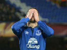 Evertons Kevin Mirallas, pictured on February 26, 2015, had barely been on the field when he was penalised for a high challenge on fellow substitute Modou Barrow and shown a straight red card