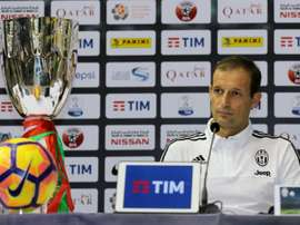 Juventus head coach Massimiliano Allegri attends a press conference in the Qatari capital Doha. AFP
