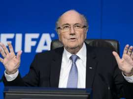 FIFA president Sepp Blatter gestures during a press conference at the FIFA world-body headquarters in Zurich on July 20, 2015