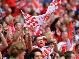 Middlesbrough fans wait for kick off of the English Championship play off at Wembley Stadium in London on May 25, 2015