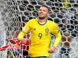 Berg celebrates after scoring against Luxembourg. AFP