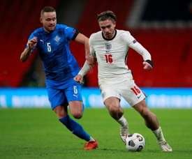 Jack Grealish (R) is not getting away by Gazza comparisons. AFP