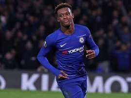 Hudson-Odoi scored Chelsea's third goal against Malmo on Thursday. AFP