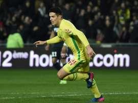 Mariusz Stepinski anotó el segundo gol del Nantes. AFP