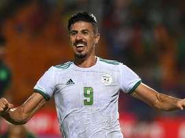 Bounedjah garantiu a vitória com o gol do título marcado no segundo minuto de jogo. AFP