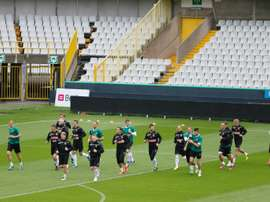 Wroclaws players warm up during a training session in Brugge, on August 7, 2013