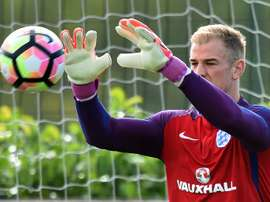 England goalkeeper Joe Hart trains in north London on October 10, 2016