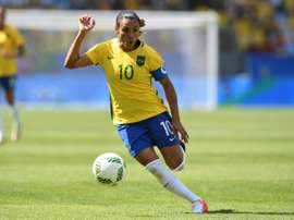 Brazils Marta dribbles during the Brazil vs Sweden game at the Maracana stadium during the Rio 2016 Olympic Games football tournament on August 16, 2016