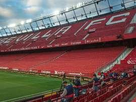 Sevilla versus Betis got La Liga back underway in a strange atmosphere. AFP