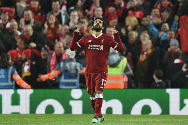 Salah was in breathtaking form once again. AFP