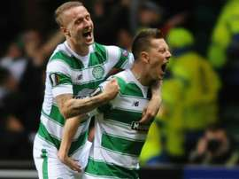 Celtics Callum McGregor (R) celebrates with Leigh Griffiths on November 26, 2015