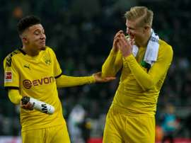 Jadon Sancho with teammate Erling Braut Haaland. AFP
