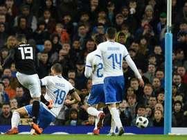 Banega scored the opening goal for Argentina. AFP