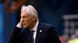 El seleccionador, eufórico tras el triunfo de Colombia. AFP