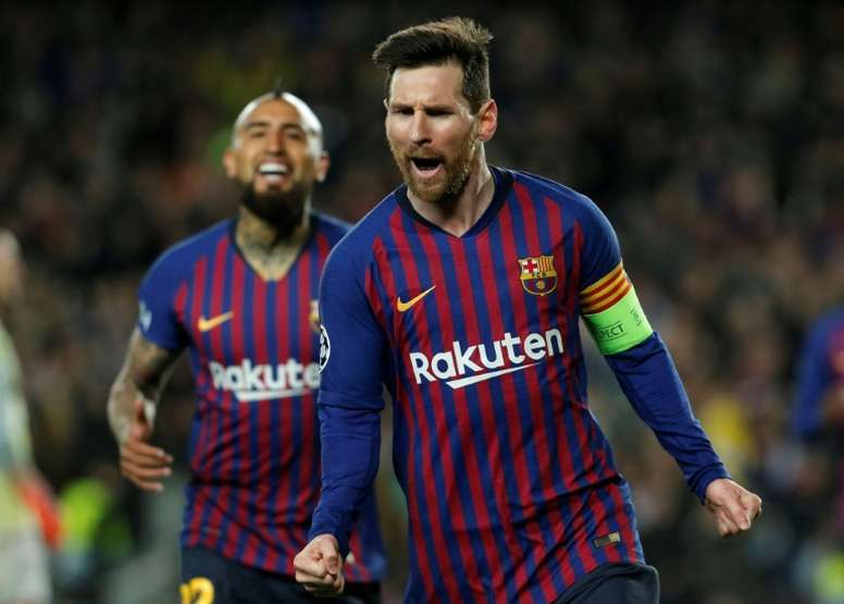 Messi was on top form against Lyon. AFP