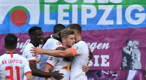 Werner scored in his first game since renewing his Leipzig contract. AFP