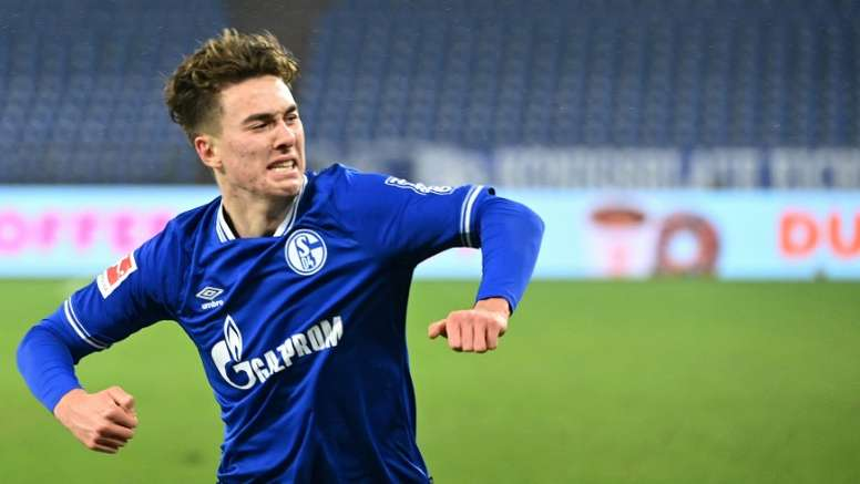 US teenager Matthew Hoppe celebrates his hat-trick for Schalke on Saturday. AFP