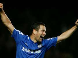 Joe Cole, then a midfielder with Chelsea, celebrates scoring a goal during their English Premier League football match against Wolverhampton Wanderers at Stamford Bridge, London, England, on November 21, 2009