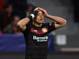 Javier 'Chicharito Hernández lors de son étape au Bayer Leverkusen. AFP