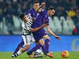Fiorentinas midfielder Milan Badelj (R) during an Italian Serie A football match on December 13, 2015