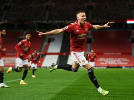 Scott McTominay scored twice inside the first three minutes as Man Utd thrashed Leeds. AFP