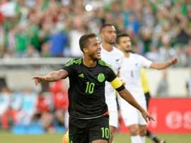 Giovani Dos Santos of Mexico celebrates scoring a goal against New Zeland during their friendly at the Nissan Stadium in Nashville, Tennessee, on October 8, 2016