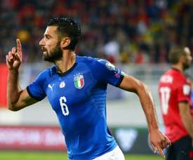 A Itália venceu na visita à Albânia, por 0-1. AFP