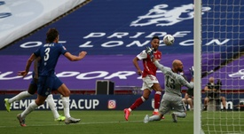 Aubameyang netted a brace as Arsenal came from behind to beat Chelsea. AFP