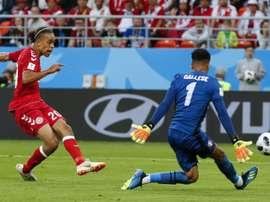 Poulsen was the sole goalscorer. AFP