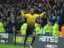 Odion Ighalo celebrating a goal with Watford. AFP