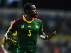 Cameroon defender Michael Ngadeu-Ngadjui celebrates after scoring. AFP