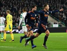 Denis Cheryshev broke the Celtic offside trap to open the scoring for Valencia. AFP