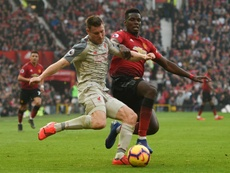 Paul Pogba played well to keep Liverpool at bay. AFP