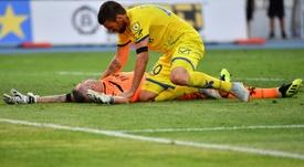 Sorrentino quedó inconsciente en el campo. AFP