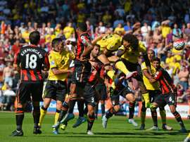 Aston Villas striker Rudy Gestede (4th R) scores against Bournemouth at the Vitality Stadium in Bournemouth, southern England on August 8, 2015