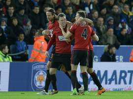 West Bromwich Albions midfielder Craig Gardner (2ndL) celebrates scoring their second goal against Leicester City at the King Power Stadium in Leicester, central England on March 1, 2016