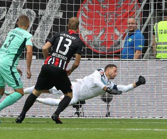 Hinteregger scored the only goal of the game in Frankfurt. AFP