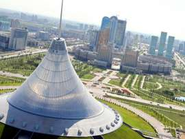 An aerial view of the city of Astana, taken on July 28, 2011