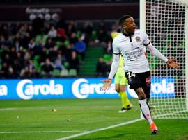 Nice forward Alassane Plea celebrates after scoring a penalty. AFP