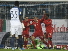 Thomas Mueller scored a late winner for Bayern in the cup tie at Bochum. AFP