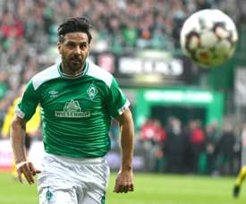 Veteran Pizarro to continue at Werder Bremen. AFP