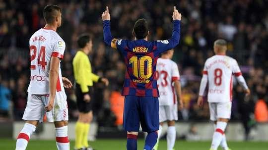 Messi hat-trick breaks La Liga record as Barca put five past Mallorca. AFP