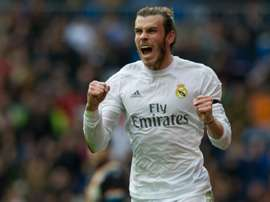 Real Madrid forward Gareth Bale celebrates after scoring against Rayo Vallecano at the Santiago Bernabeu