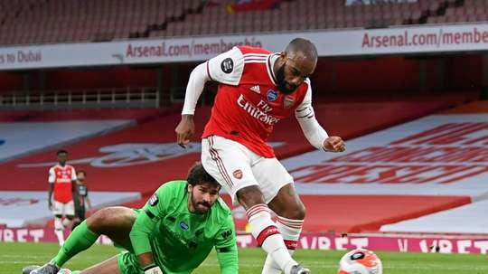 Alexandre Lacazette scored and assisted in Arsenal's 2-1 victory over Liverpool. AFP
