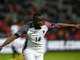 Frances midfielder Blaise Matuidi celebrates after scoring a goal during the friendly football match between the Netherlands and France, on March 25, 2016, in Amsterdam