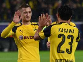 Marco Reus (L) and Shinji Kagawa celebrate a goal against Legia Warsaw. AFP