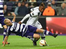 Clinton Njie (right) in action for Tottenham Hotspur durinig their Europa League match against Anderlecht in October 2015