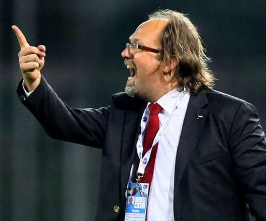 Belgian Tom Saintfiet coaches the Gambia, who face Angola in a 2022 World Cup qualifier. AFP