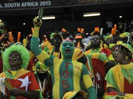 Togos supporters cheer their team prior to a match on February 3, 2013, in Nelspruit, South Africa