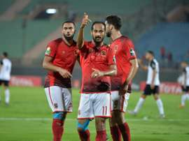 Walid Soliman celebrates scoring. AFP